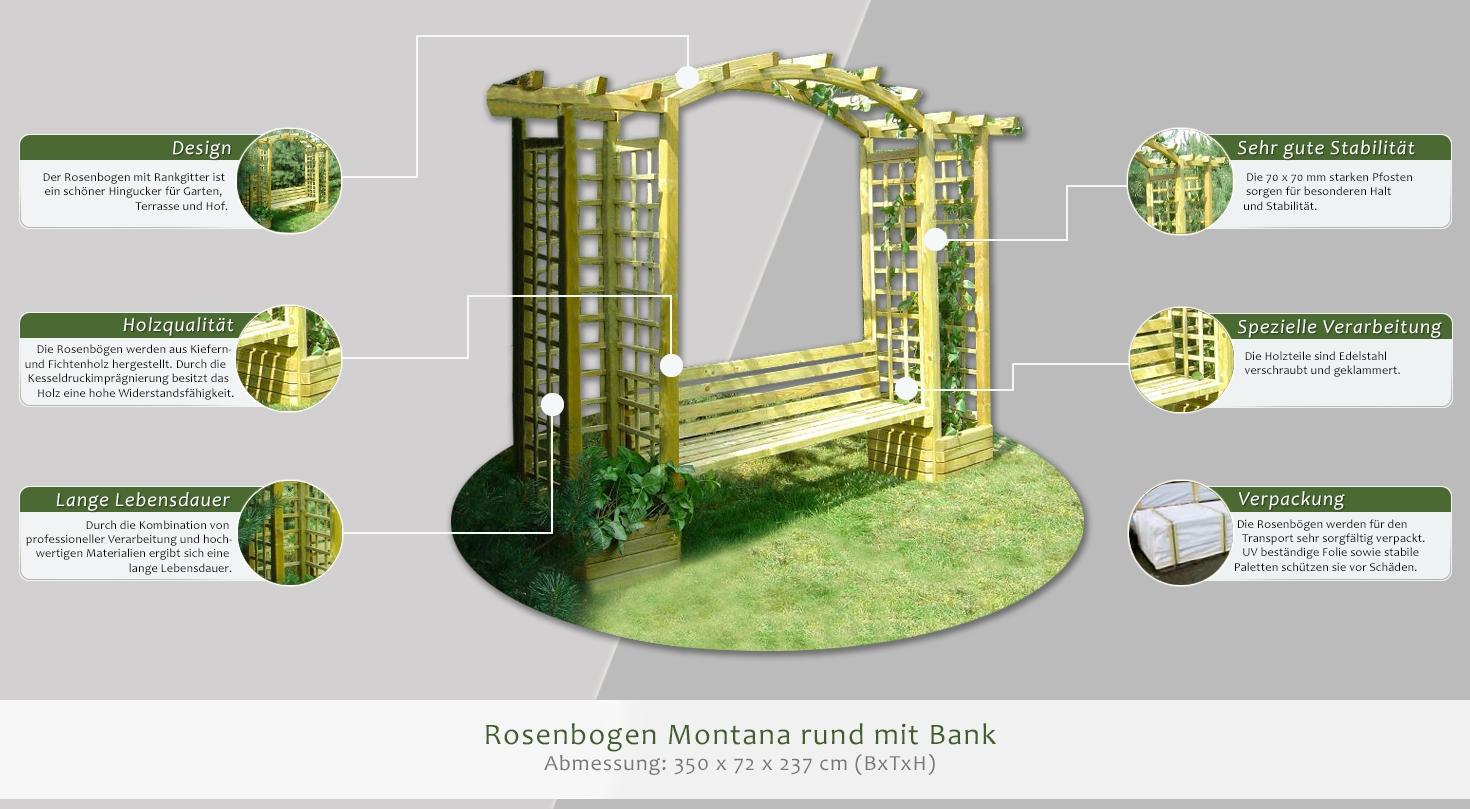 rosenbogen montana rund mit bank abmessung 350 x 72 x. Black Bedroom Furniture Sets. Home Design Ideas