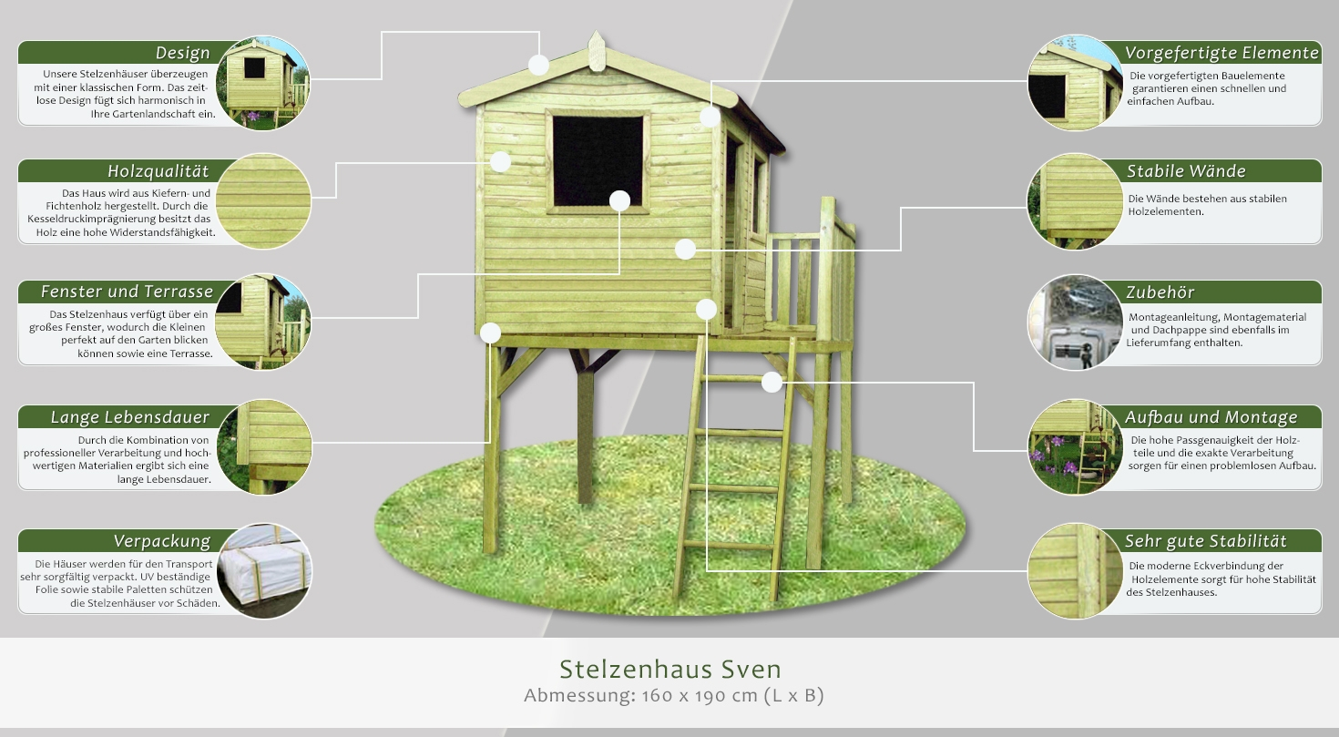 Stelzenhaus Sven - Abmessung: 160 x 190 cm (L x B)