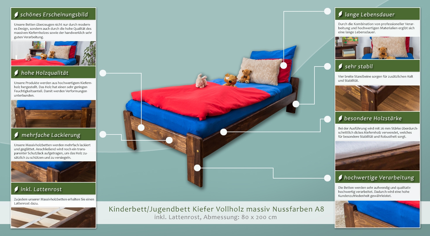 massiv nussfarben a8 inkl lattenrost abmessungen 80 x 200 cm. Black Bedroom Furniture Sets. Home Design Ideas