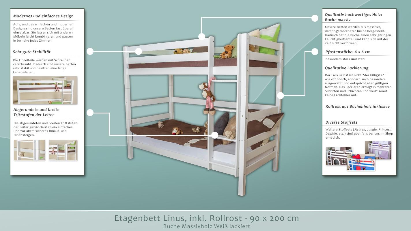 Dreier Etagenbett Kaufen : Etagenbett linus buche massiv weiß inkl rollrost cm