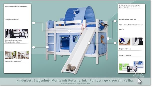 Etagenbett Moritz Mit Rutsche : Etagenbett moritz buche vollholz massiv weiß lackiert mit rutsche
