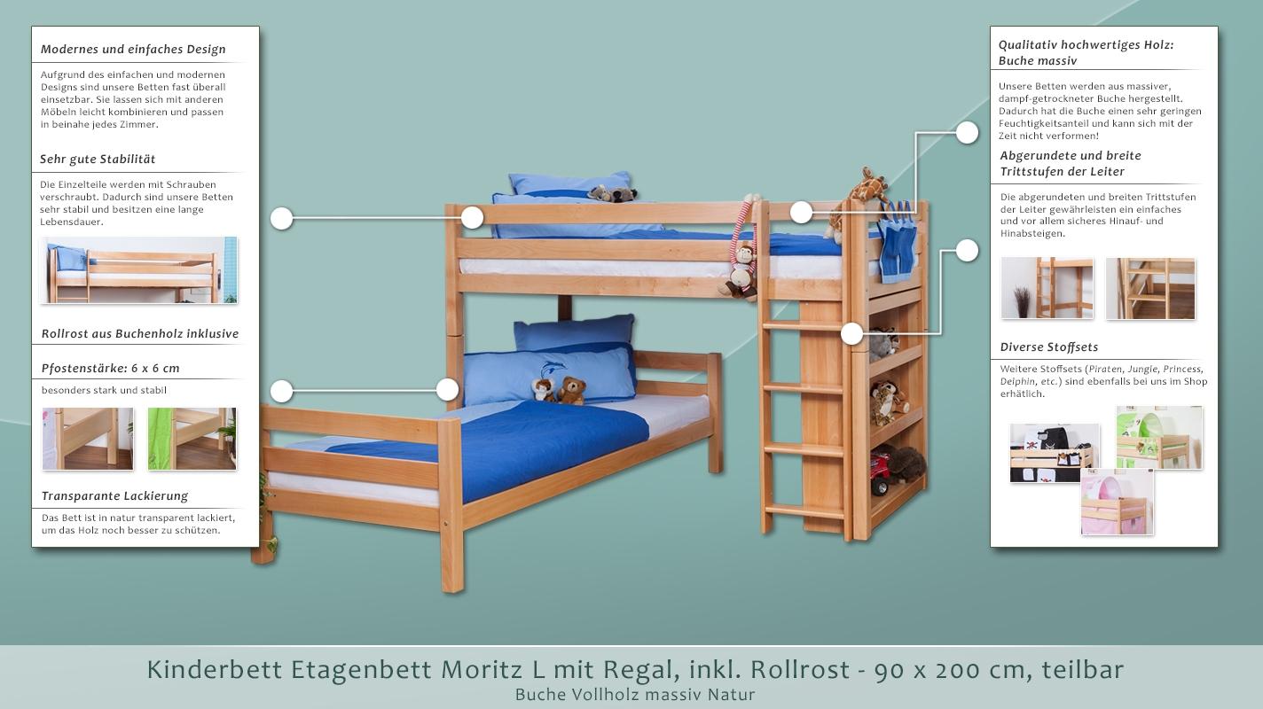 Etagenbett Moritz Buche : Etagenbett moritz l buche vollholz massiv natur mit regal inkl