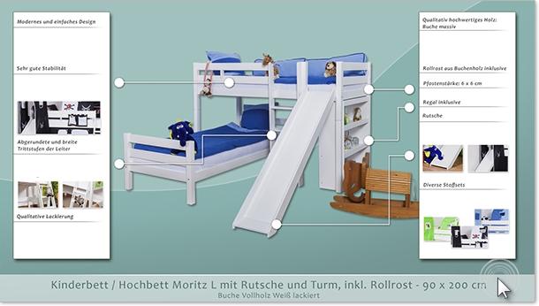 Etagenbett Moritz Mit Rutsche : Etagenbett spielbett moritz l buche vollholz massiv weiß