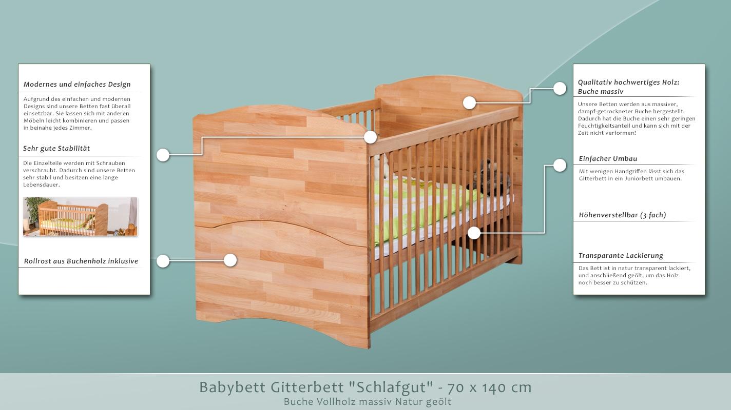 babybett gitterbett schlafgut buche massiv natur ge lt. Black Bedroom Furniture Sets. Home Design Ideas