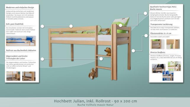 Etagenbett Julian : Hochbett julian buche massiv natur inkl rollrost cm