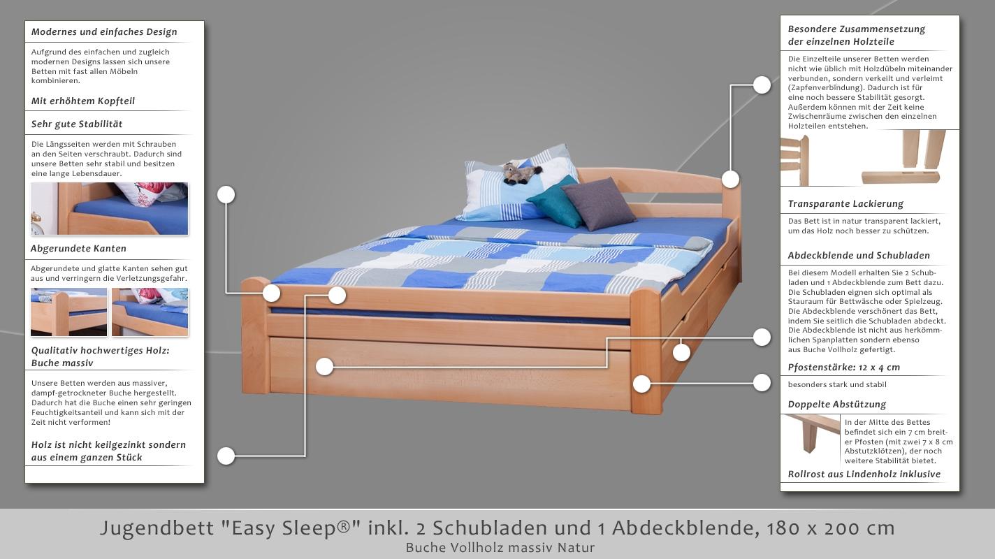 Jugendbett easy sleep k4 inkl 2 schubladen und 1 for Jugendbett 180 lang