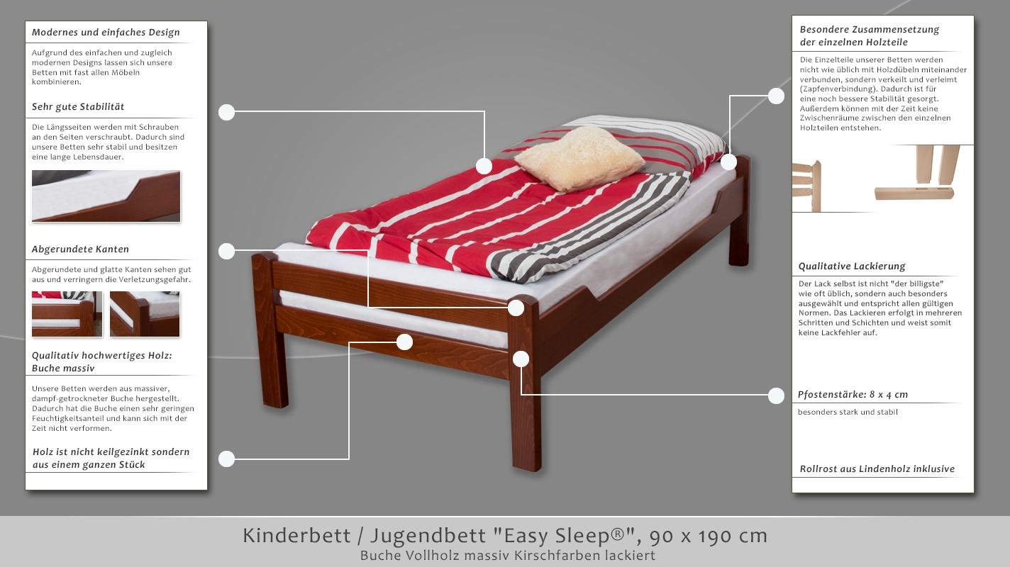 kinderbett jugendbett easy sleep k1 1n buche vollholz massiv kirschfarben ma e 90 x 190 cm. Black Bedroom Furniture Sets. Home Design Ideas