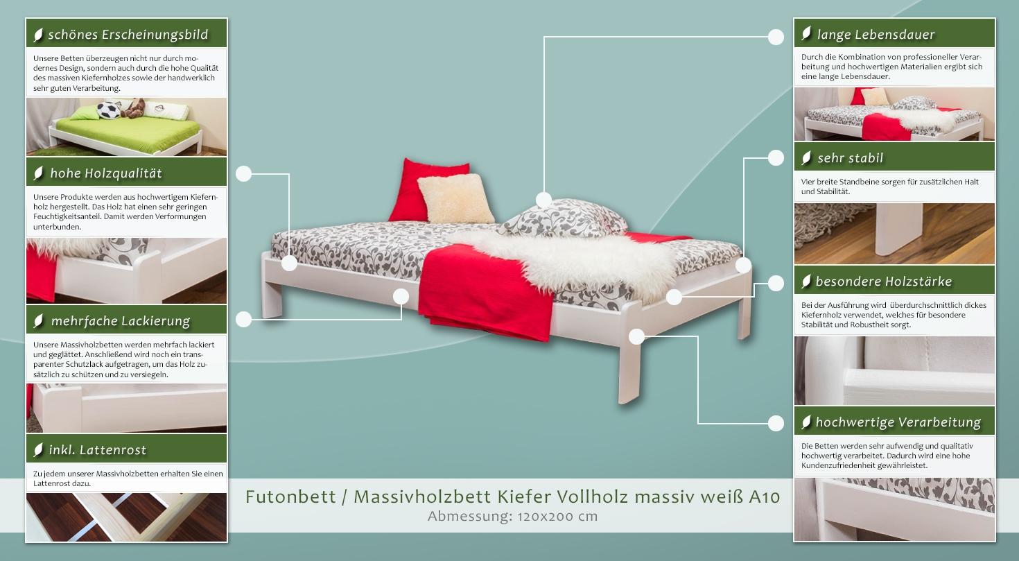 Futonbett Massivholzbett Kiefer Vollholz Massiv Weiß Lackiert A10 Inkl Lattenrost Abmessung 120 X 200 Cm