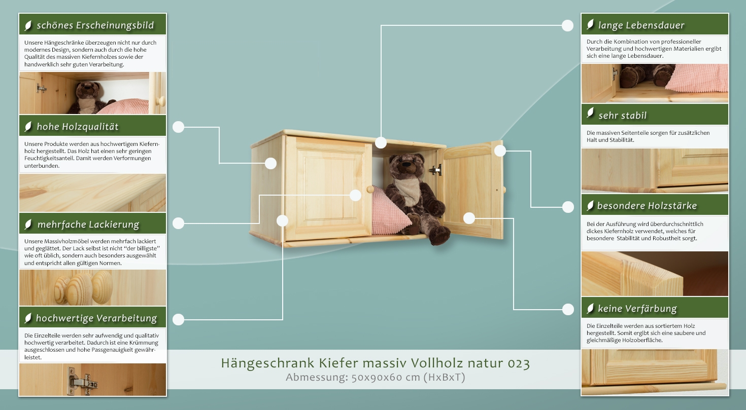 Hängeschrank Kiefer Vollholz Massiv Natur 023 Abmessung 50 X 90 X 60 Cm H X B X T