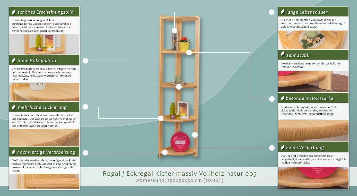 regal eckregal kiefer massiv vollholz natur 005. Black Bedroom Furniture Sets. Home Design Ideas