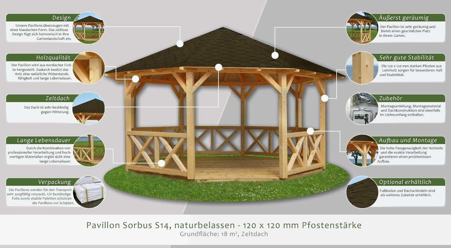 Pavillon X Design : Pavillon sorbus s naturbelassen mm pfostenstärke