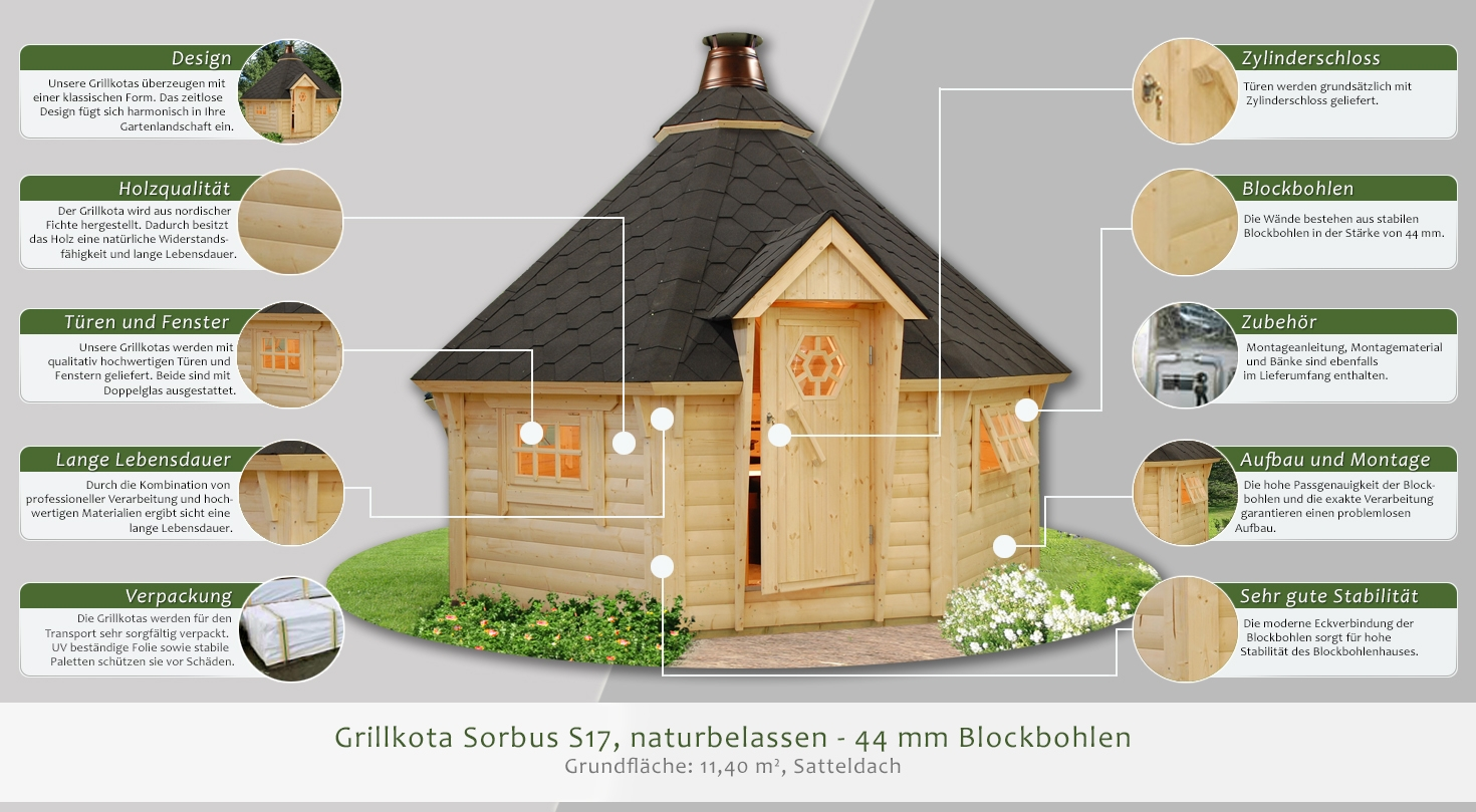 grillkota sorbus s17 inkl fu boden naturbelassen 44 mm. Black Bedroom Furniture Sets. Home Design Ideas