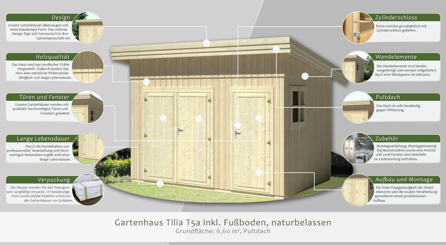 Fußboden Aus Holzklötzen ~ Gartenhaus tilia t a inkl fußboden naturbelassen grundfläche