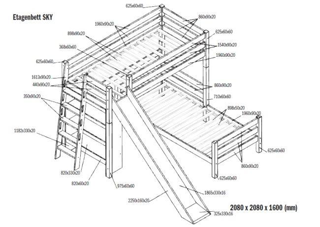 etagenbett sky mit regal und rutsche inkl rollrost natur kaufen bei. Black Bedroom Furniture Sets. Home Design Ideas