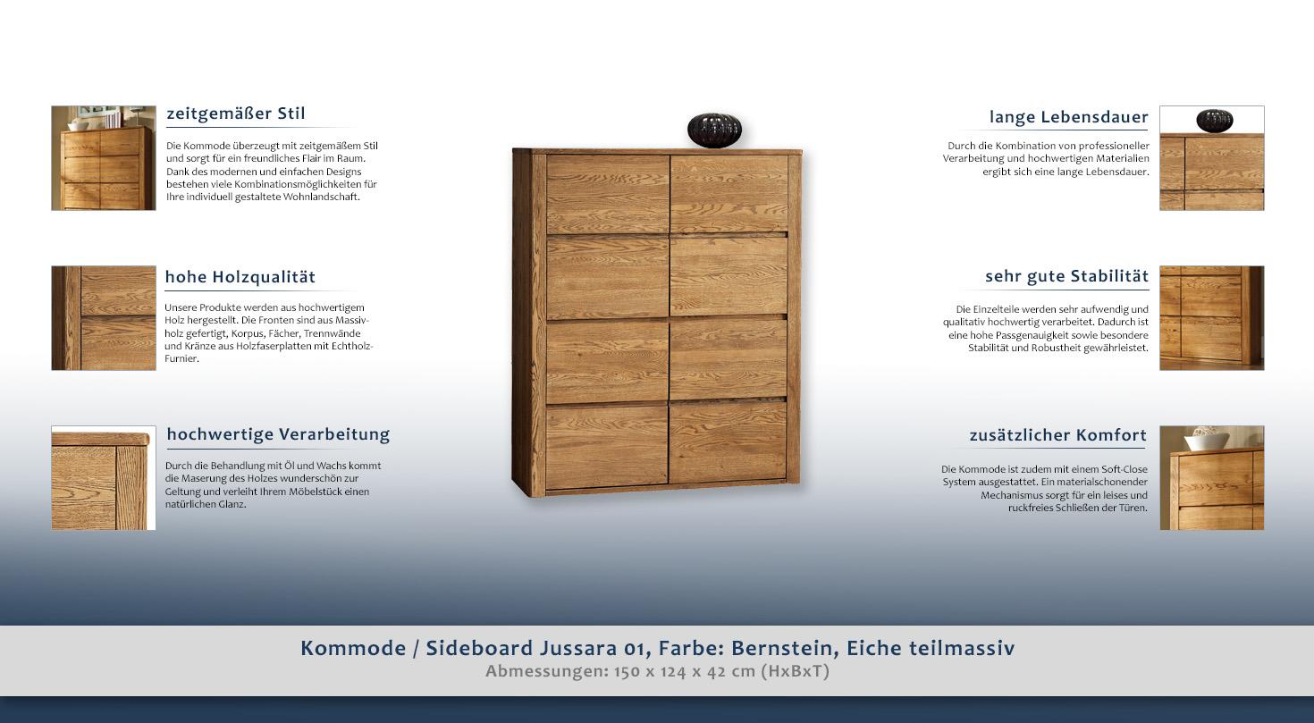 Kommode Sideboard Jussara 01 Farbe Bernstein Eiche Teilmassiv