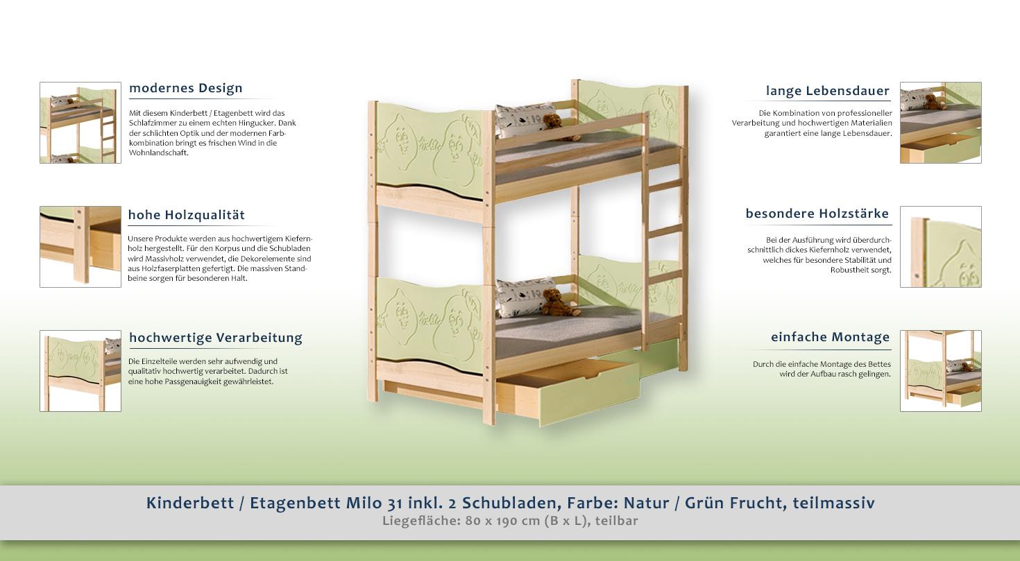 Etagenbett Liegefläche 80 180 : Kinderbett etagenbett milo 31 inkl. 2 schubladen farbe: natur