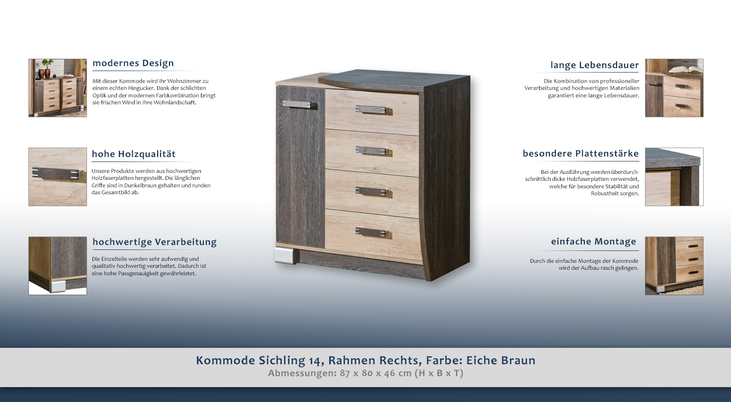 Kommode Sichling 14, Rahmen Rechts, Farbe: Eiche Braun - Abmessungen ...