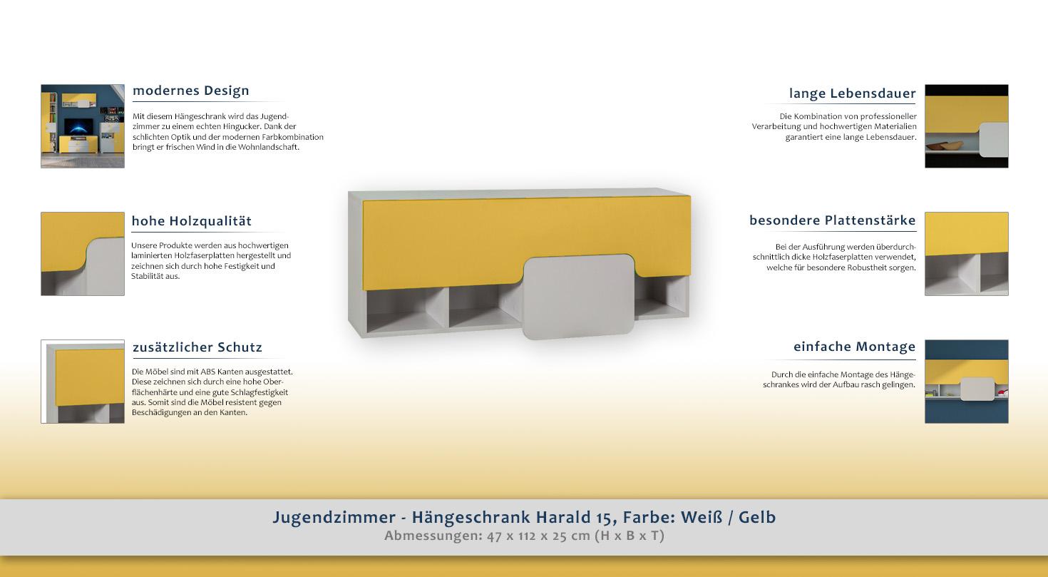Jugendzimmer - Hängeschrank Harald 15, Farbe: Weiß / Gelb - 47 x 112 ...