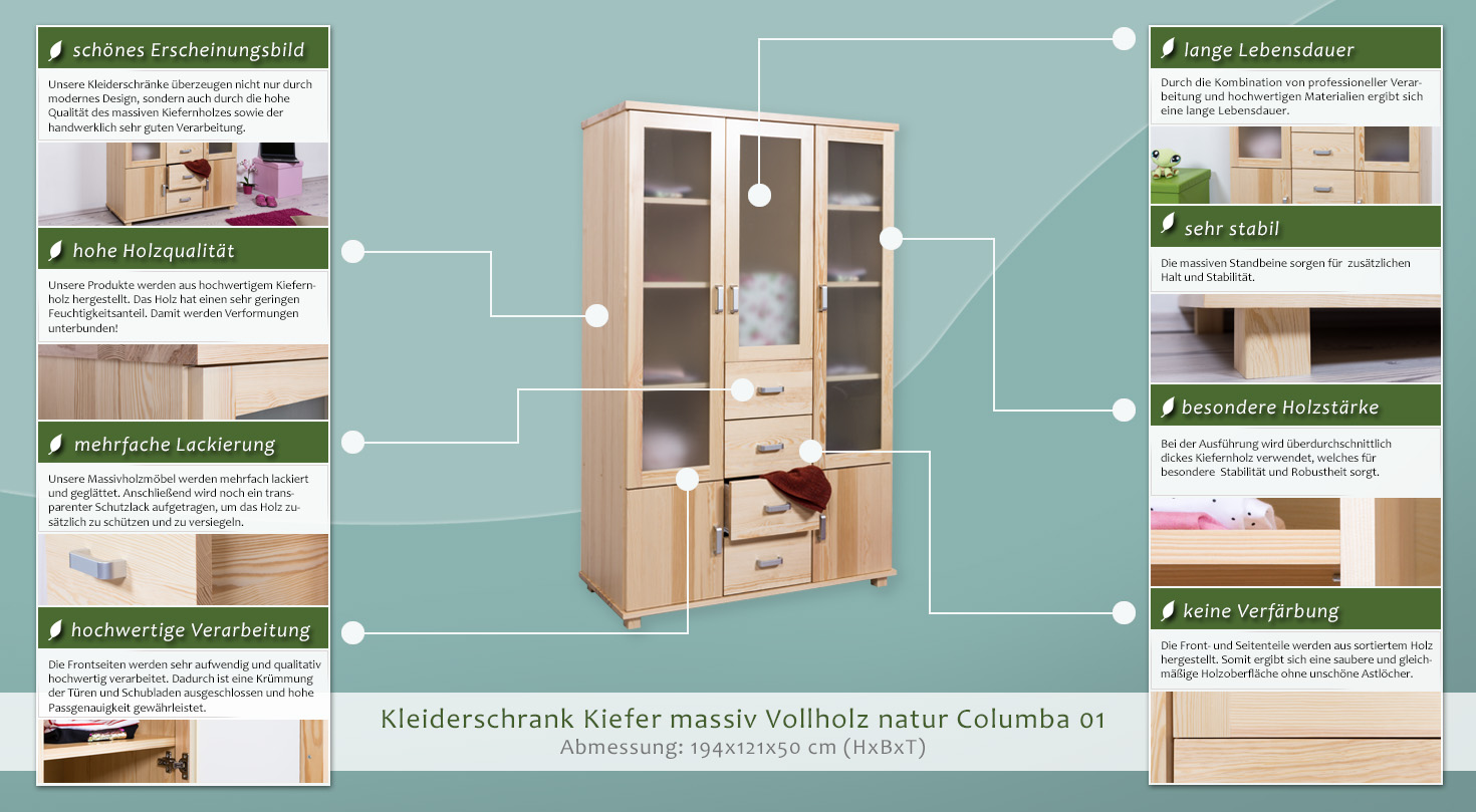 kiefer kleiderschrank a qualit t natur 195x121x50 cm. Black Bedroom Furniture Sets. Home Design Ideas
