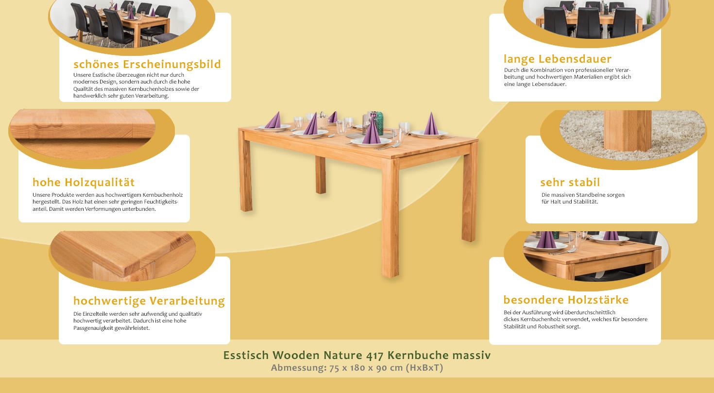 Esstisch wooden nature 417 kernbuche massiv ge lt 180 x for Design esstisch x7