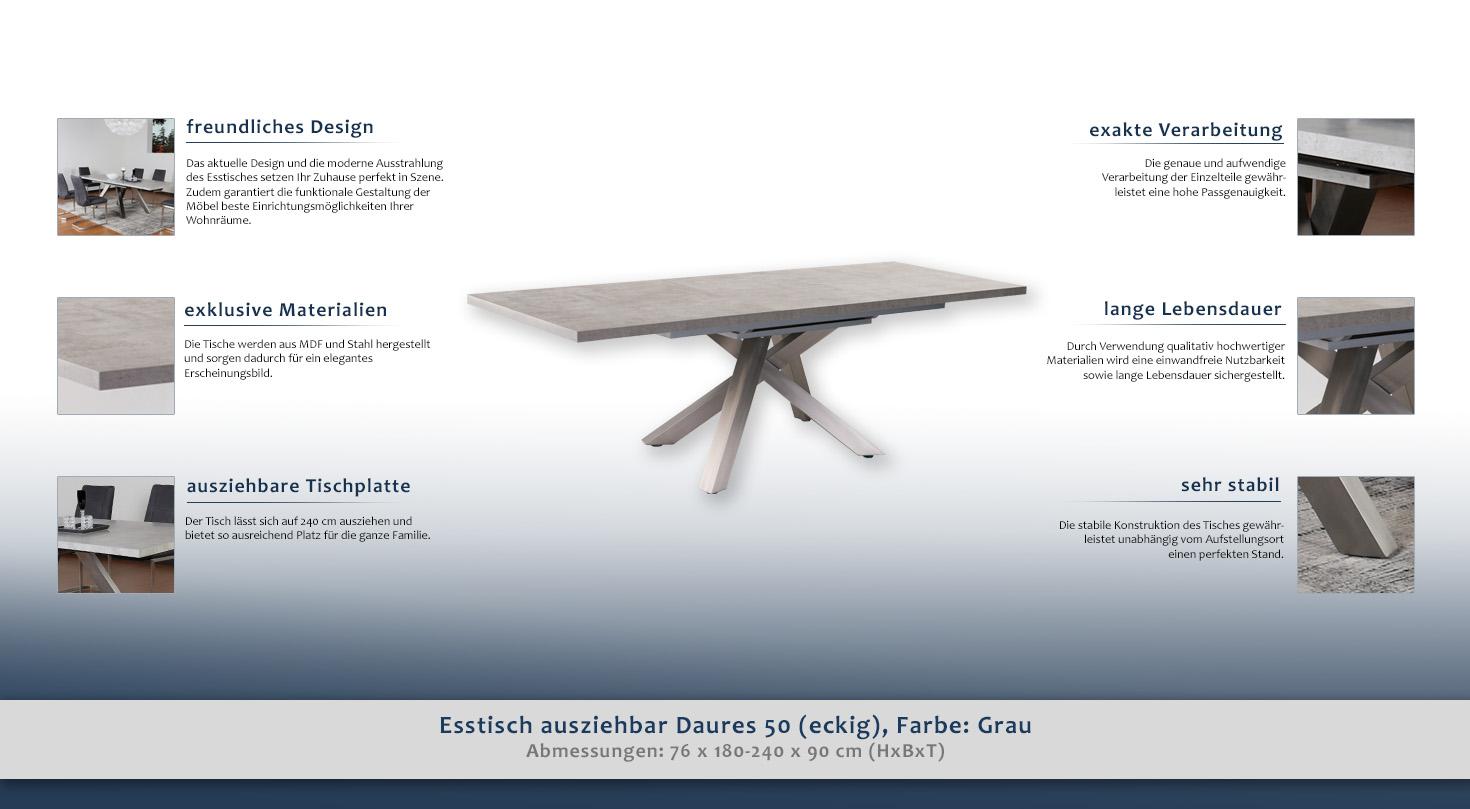 Esstisch ausziehbar Daures 50 (eckig), Farbe: Grau - Abmessungen: 76 ...