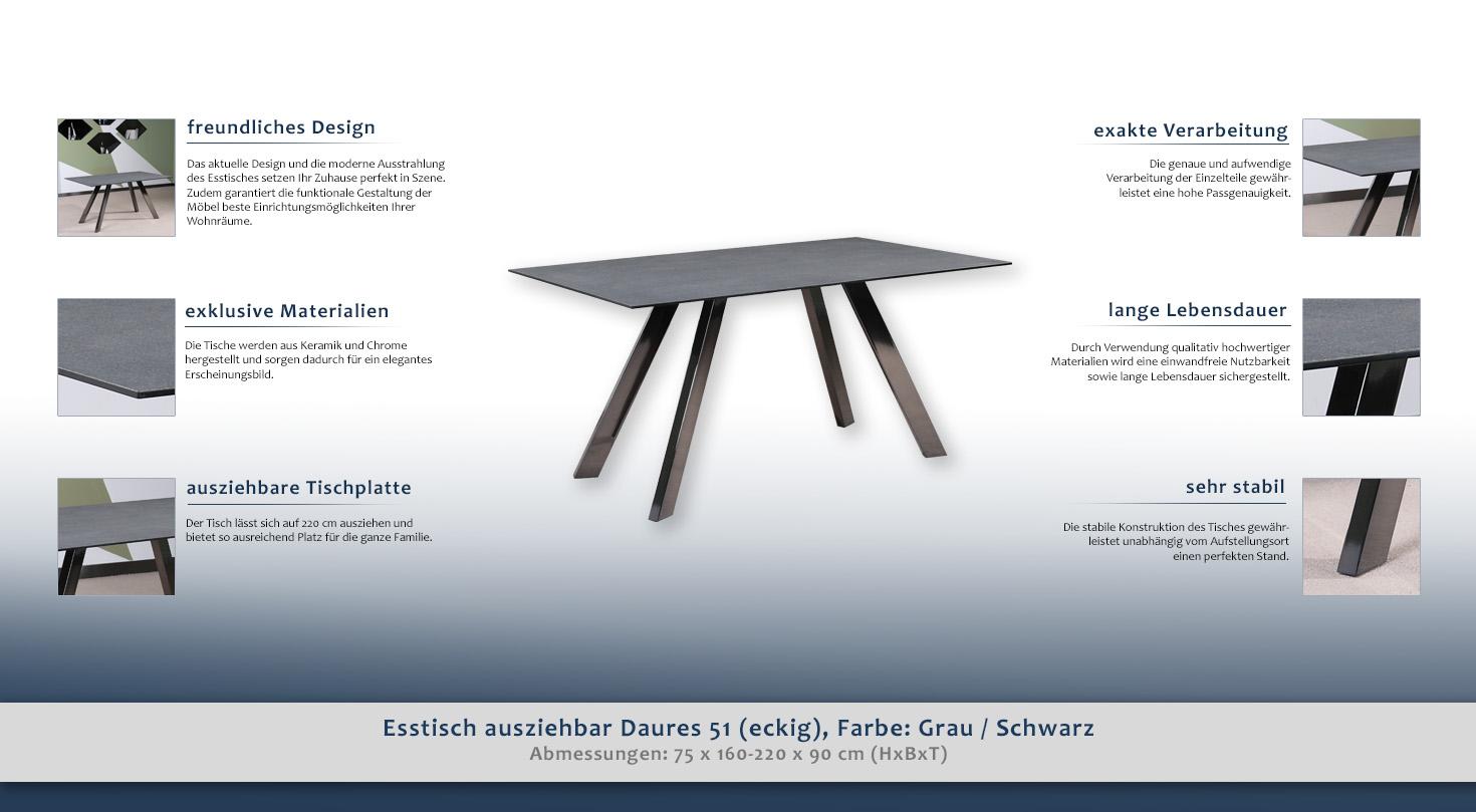 Esstisch ausziehbar daures 51 eckig farbe grau for Moderne esstischgruppe