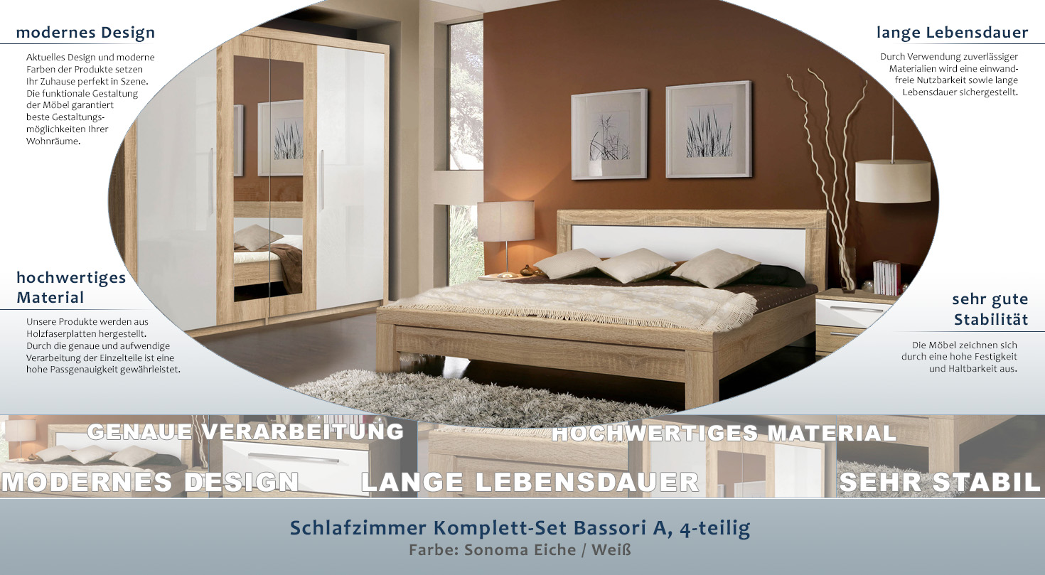 Easy Möbel Schlafzimmer Komplett - Set Bassori A, 4-teilig, Farbe ...