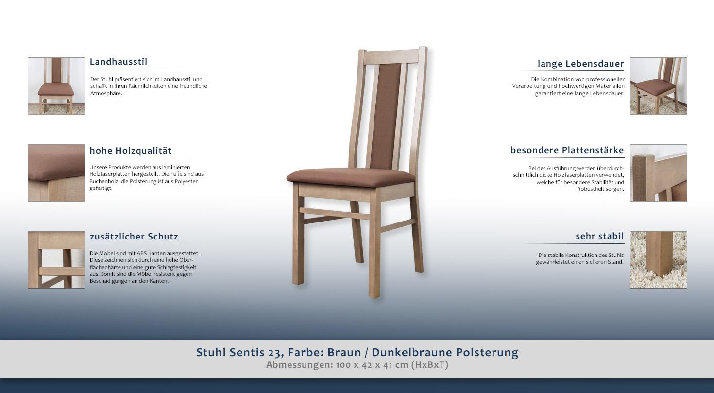 Stuhl Sentis 23 Farbe Eiche Braun Dunkelbraune Polsterung 100