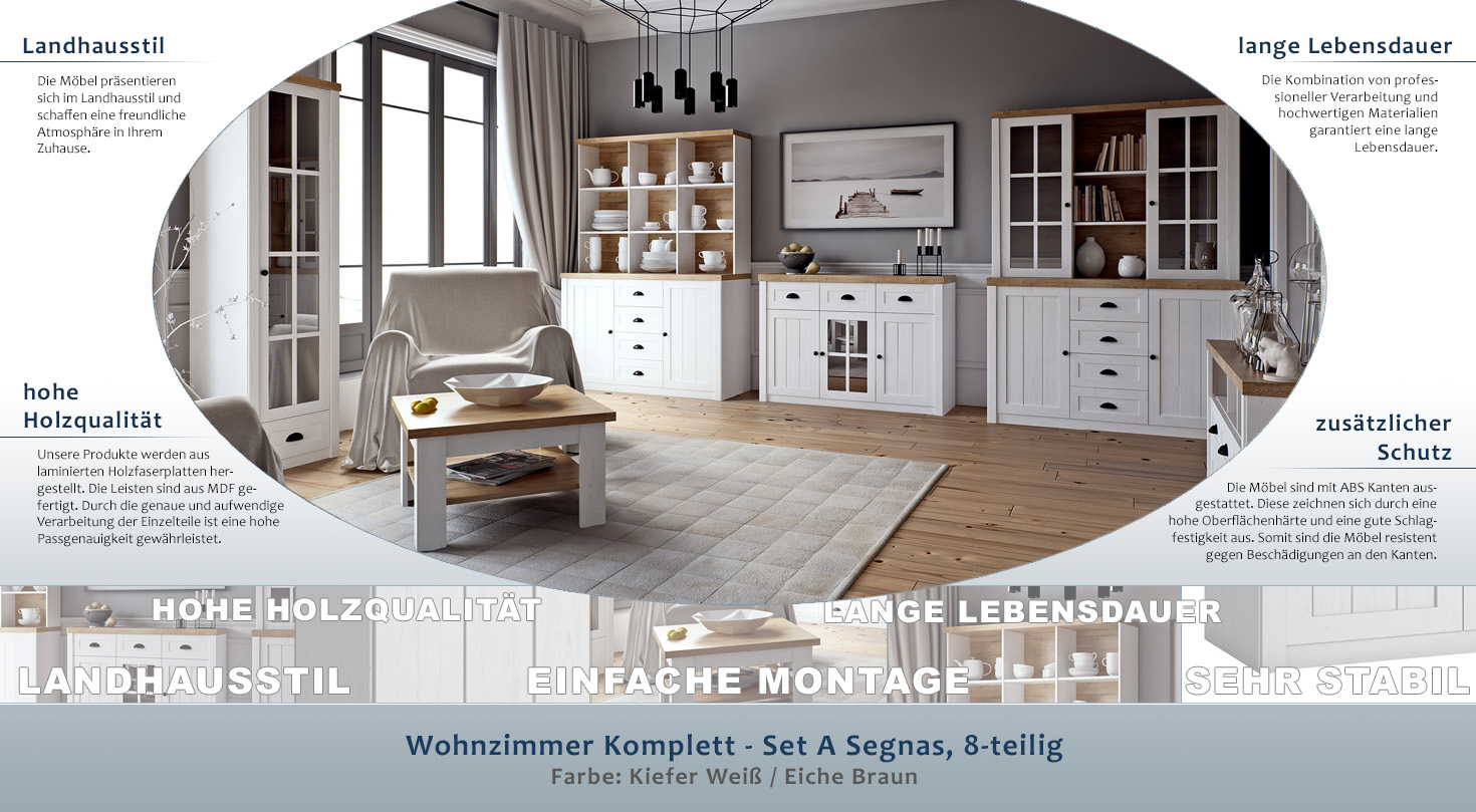 Wohnzimmer Komplett - Set A Segnas, 8-teilig, Farbe: Kiefer Weiß ...