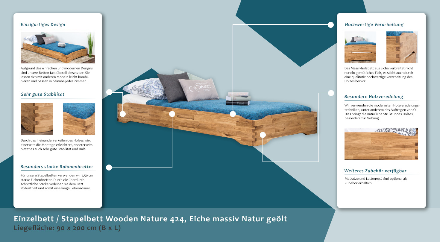 Einzelbett Stapelbett Wooden Nature 424 Eiche Massiv Natur Geolt