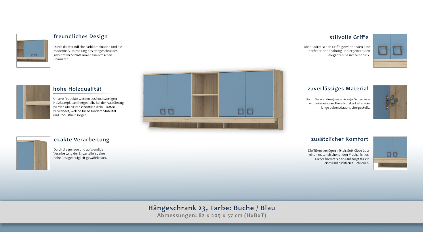Schlafzimmer Buche Blau   Hangeschrank 23 Farbe Buche Blau 82 X 209 X 37 Cm H X B X T
