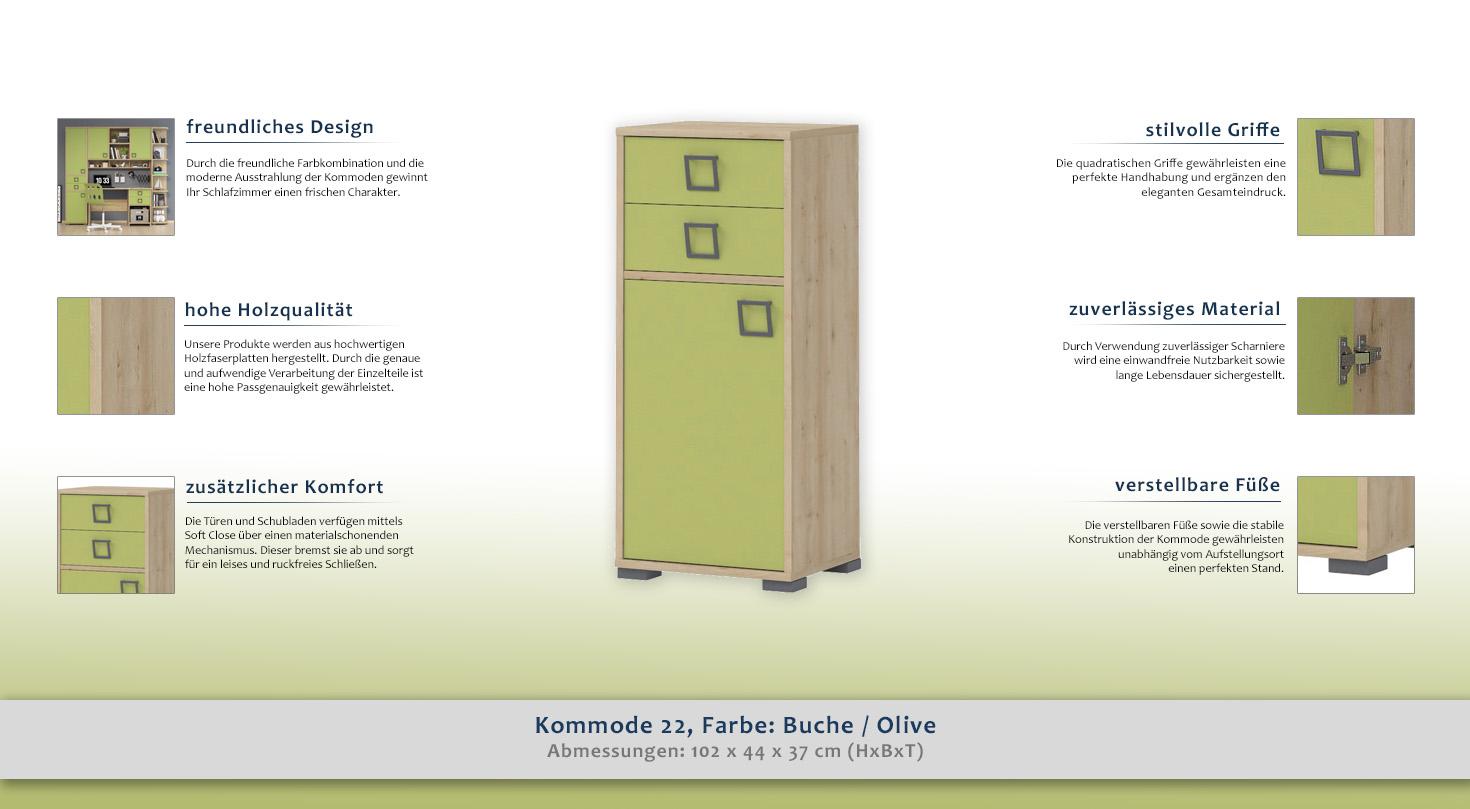 kommode 22 farbe buche olive 102 x 44 x 37 cm h x b x t. Black Bedroom Furniture Sets. Home Design Ideas