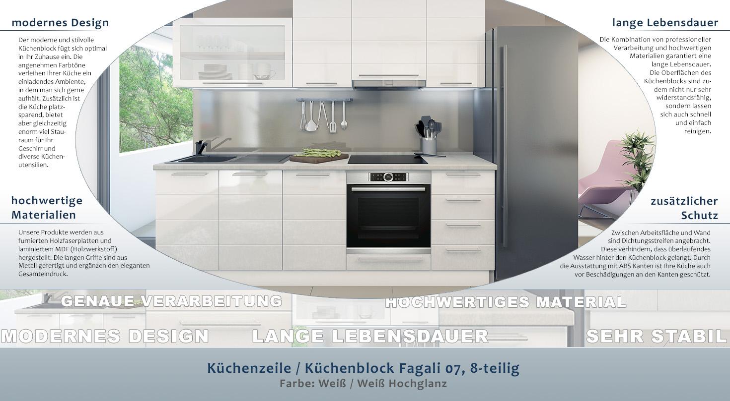 Kuchenzeile Kuchenblock Fagali 07 8 Teilig Farbe Weiss Weiss