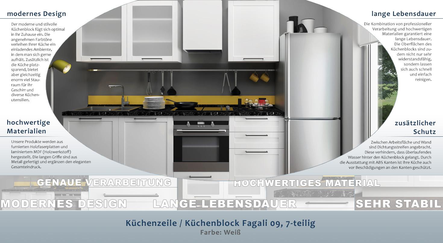 Kuchenzeile Kuchenblock Fagali 09 7 Teilig Farbe Weiss