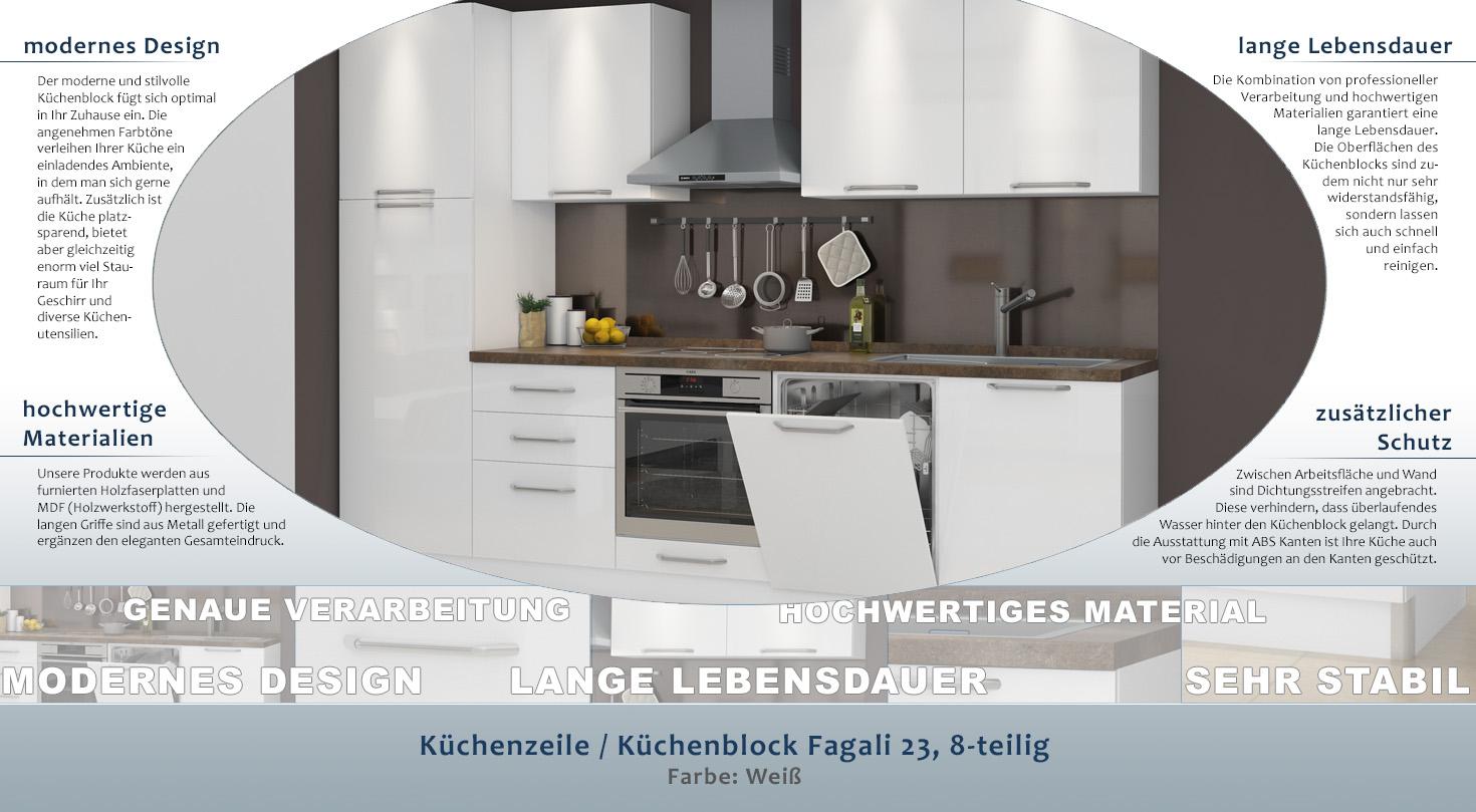 Küchenzeile / Küchenblock Fagali 23, 8-teilig, Farbe: Weiß