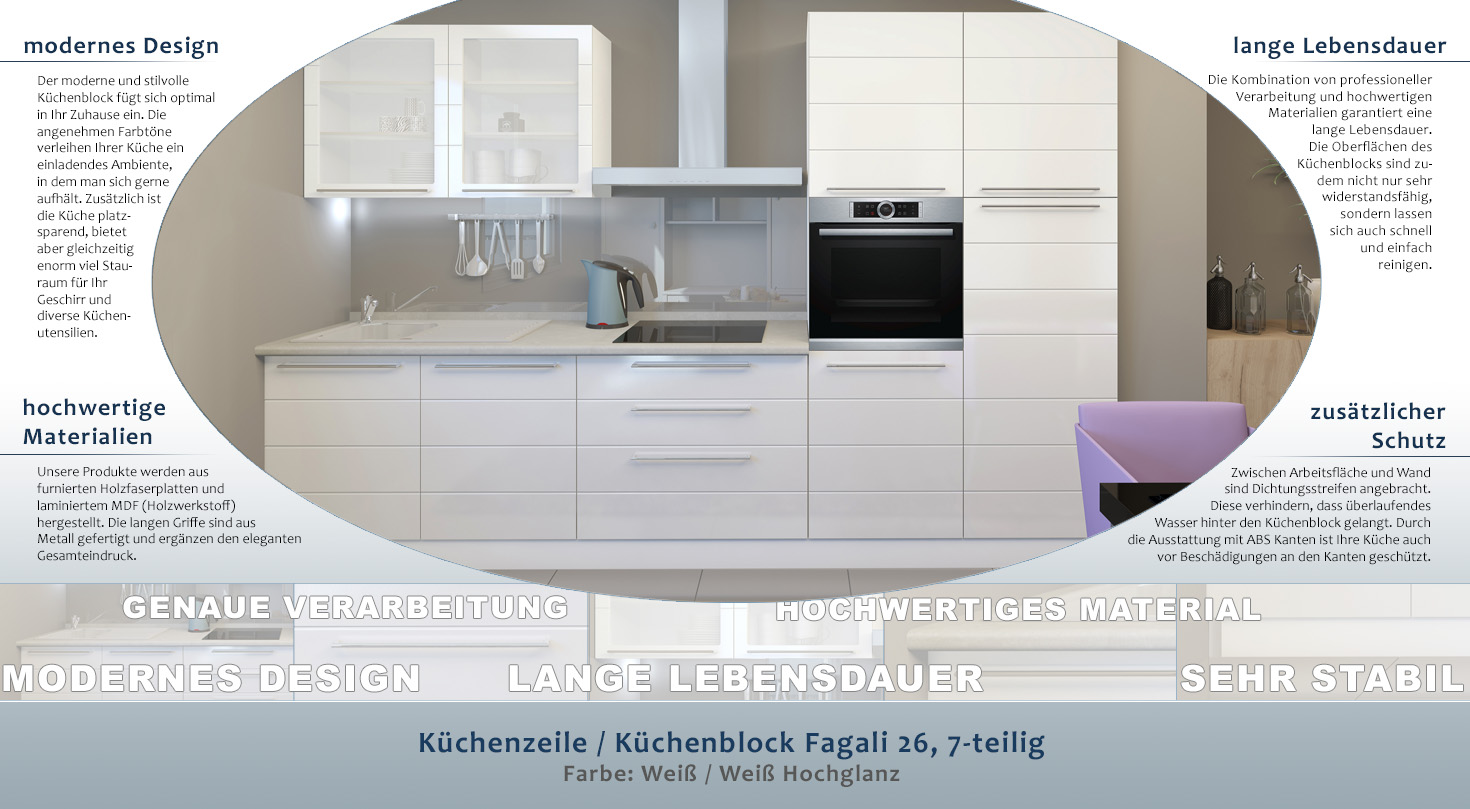 Kuchenzeile Kuchenblock Fagali 26 7 Teilig Farbe Weiss Weiss
