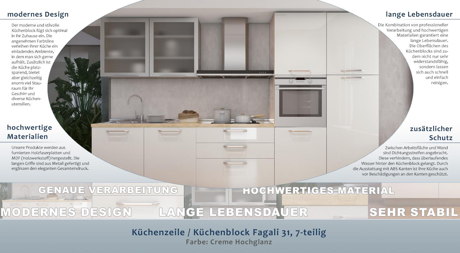 Kuchenzeile Kuchenblock Fagali 31 7 Teilig Farbe Creme Hochglanz