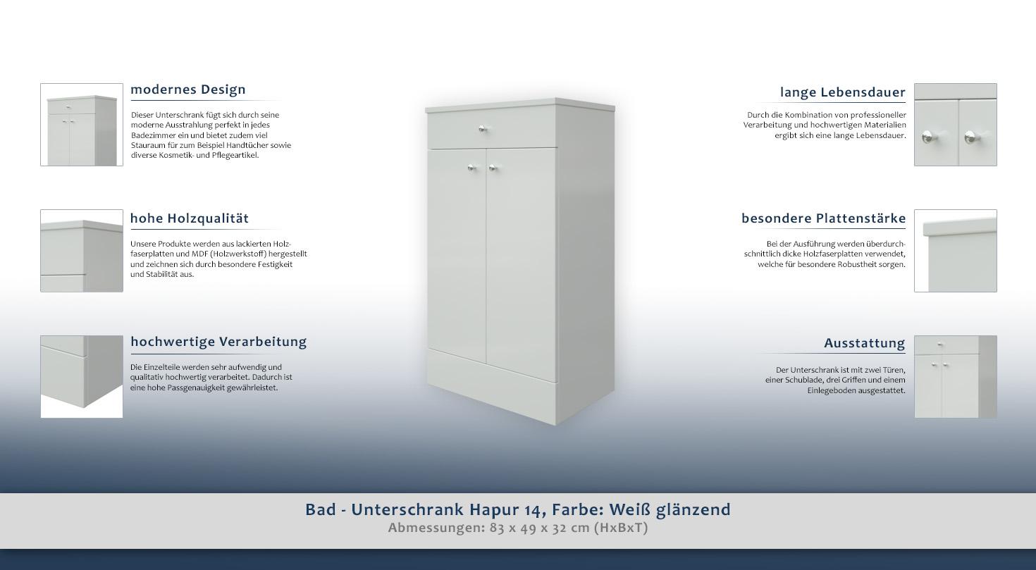 Bad Unterschrank Hapur 14 Farbe Weiss Glanzend 83 X 49 X 32 Cm