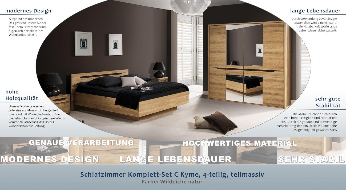 Schlafzimmer Komplett - Set C Kyme, 4-teilig, teilmassiv, Farbe: Wildeiche  natur