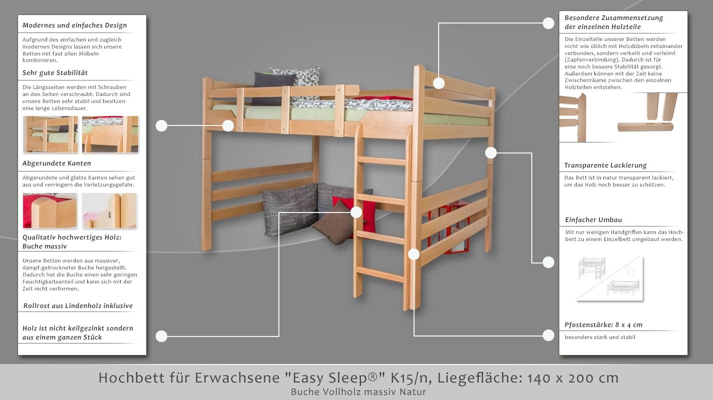 hochbett f r erwachsene easy sleep k15 n buche vollholz. Black Bedroom Furniture Sets. Home Design Ideas