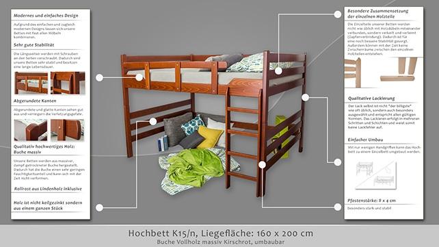 hochbett easy m bel k15 n buche vollholz massiv. Black Bedroom Furniture Sets. Home Design Ideas