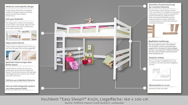 hochbett easy sleep k15 n buche vollholz massiv wei. Black Bedroom Furniture Sets. Home Design Ideas