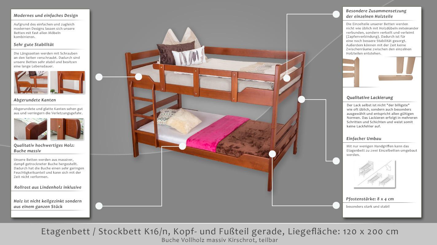 Etagenbett 120 Cm Breit : Etagenbett stockbett k16 n kopf und fußteil gerade buche