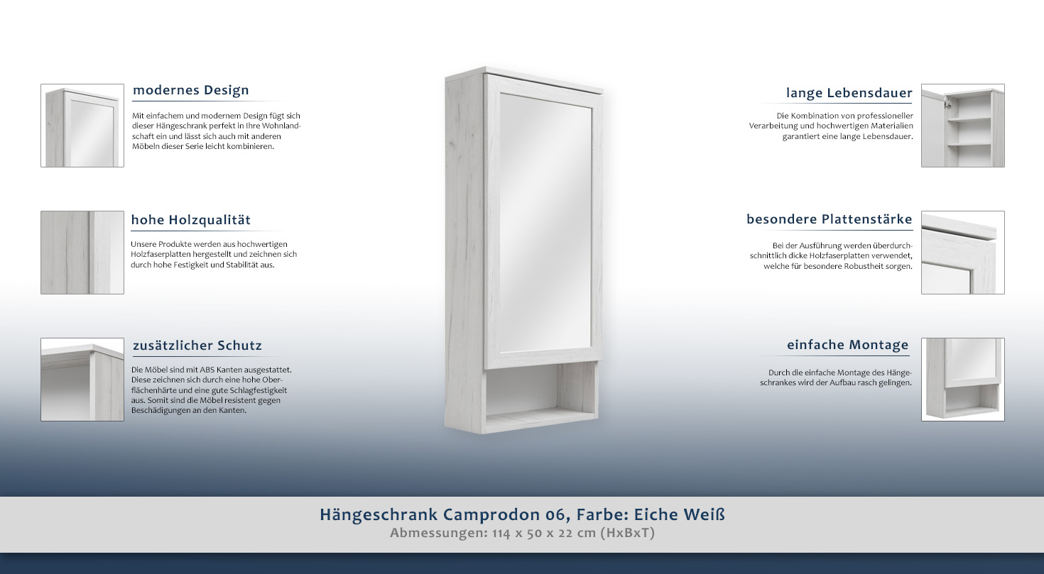 Hängeschrank Camprodon 06, Farbe: Eiche Weiß - 114 x 50 x 22 cm (H x ...