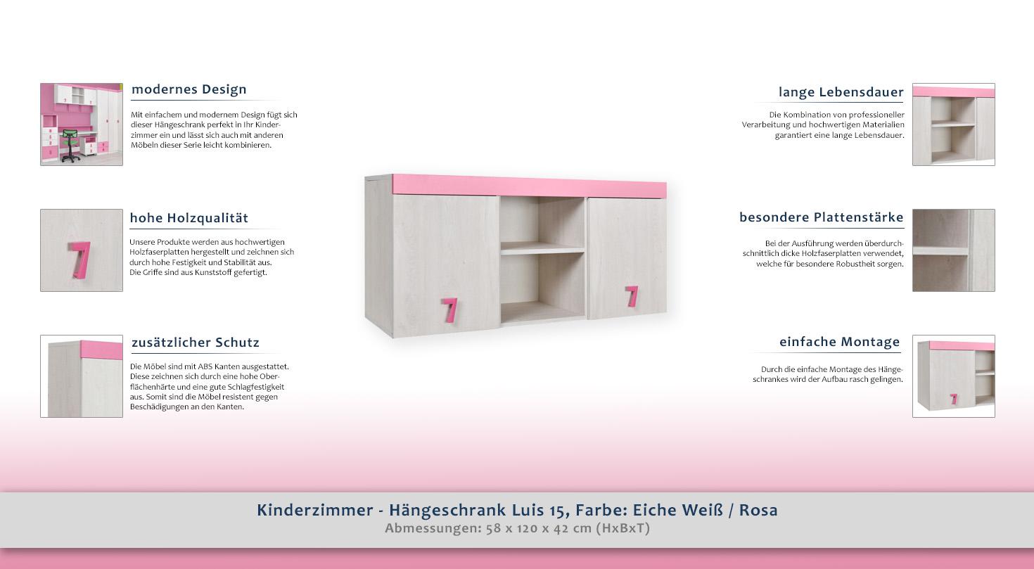 Kinderzimmer - Hängeschrank Luis 15, Farbe: Eiche Weiß / Rosa - 58 x ...