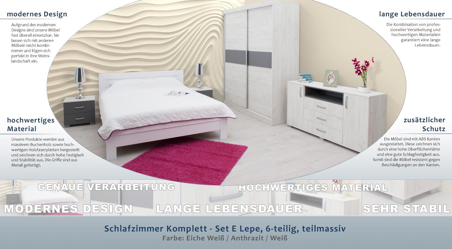 Schlafzimmer Komplett - Set E Lepe, 6-teilig, teilmassiv, Farbe ...