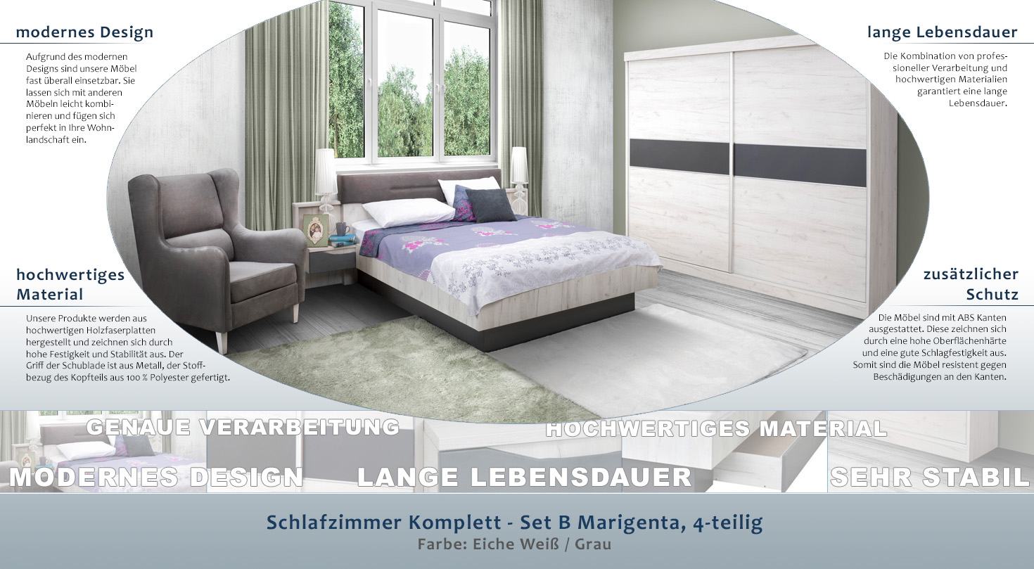 Schlafzimmer Komplett Set B Marigenta 4 Teilig Farbe Eiche Weiss