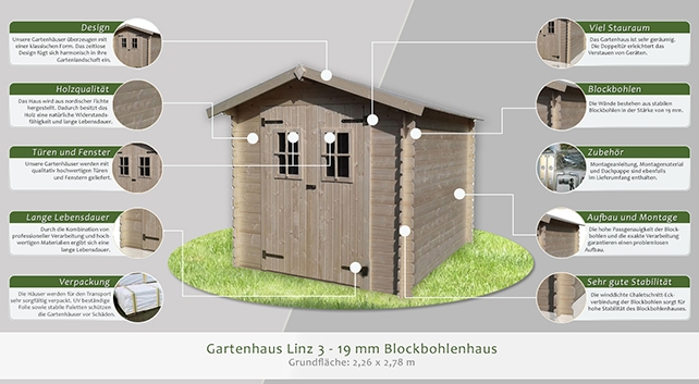 gartenhaus linz 3 2 26 x 2 78 meter aus 19 mm blockbohlen. Black Bedroom Furniture Sets. Home Design Ideas