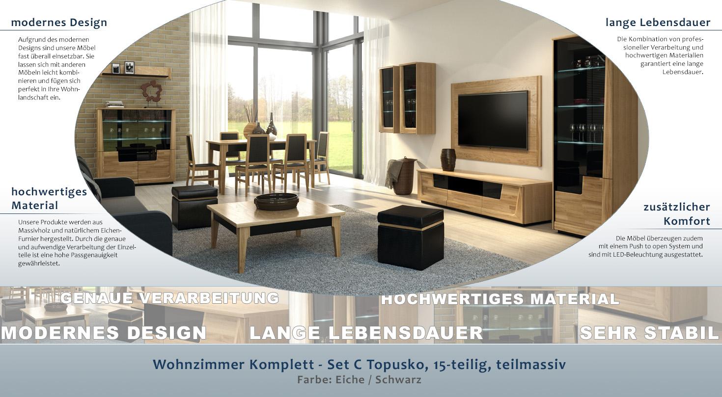 wohnzimmer komplett set c topusko 15 teilig teilmassiv. Black Bedroom Furniture Sets. Home Design Ideas