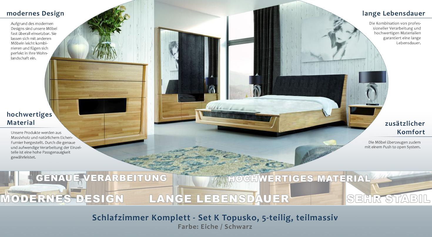 Schlafzimmer Komplett - Set K Topusko, 5-teilig, teilmassiv, Farbe ...